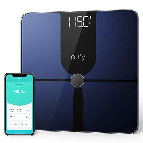 eufy by Anker, Smart Scale P1 with Bluetooth, Body Fat Scale, Wireless Digital Bathroom Scale, 14 Measurements, Weight/Body Fat/BMI, Fitness Body Composition Analysis, Black/White, lbs/kg.