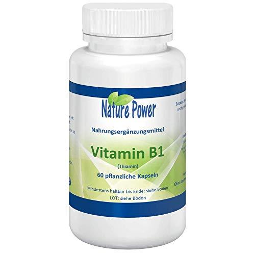 Vitamin B1 | Thiamin | 300% Vitamin B1 pro Kapsel | von NATURE POWER | 60 pflanzliche Kapseln | gentechnikfrei und vegan