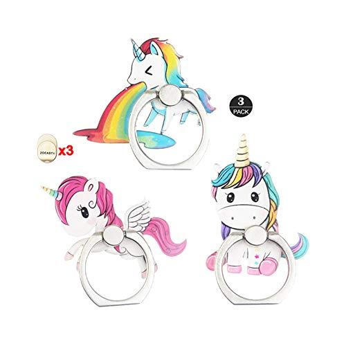 ZOEAST(TM) 3pcs Phone Ring Grip Rainbow Unicorn Little Pony Universal 360° Adjustable Holder Car Desk Hook Stand Stent Mount Kickstand Compatible with iPhone 11 XS XR Max X 8 Plus iPad (3pcs Unicorn)