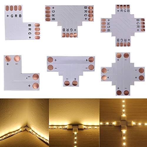 JIAHONG Conectores de Cable de Alambre de 5pcs 2pin 3pin 4pin 5pin 6pin Conector LED 8mm 10 mm 12 mm L/T/x Forma FPC FPC Adaptador de Soldadura Libre para 3528 2812 5050 RGB Strip