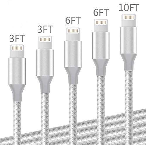 DNLM iPhone Charger, MFi Certified Lightning Charging Cable, USB Nylon Braided Syncing 5Pack 3FT 3FT 6FT 6FT 10FT Compatible iPhone Xs/Max/XR/X/8/8Plus/7/7Plus/6S/6S Plus (Grey and White)