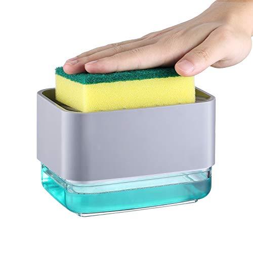 Veelink Dispenser Sapone Liquido Manuale con Spugna per Piatti Dispenser Detersivo Piatti Porta Spugna Erogatore Sapone Piatti Distributore Detersivo Piatti in Plastica (Grigio)
