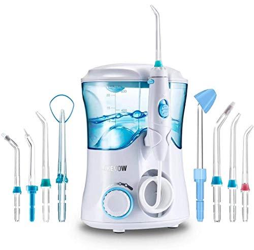 Irrigador Dental Professionale con 8 Boquillas Multifuncionales, Jkevow Irrigador Bucal Limpieza Dientes con Capacidad de 600ml, 10 Ajustes de Presión del agua, Aprobado por la FDA CE