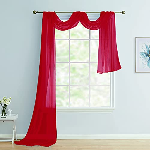 Scarf Sheer Voile 37x216 Window Quality Home Event Designs Beautiful Elegant Solid Topper Long Treatment Scarves Decorative Wedding Valance Curtain Living Room Bedroom Ceremony( RED )
