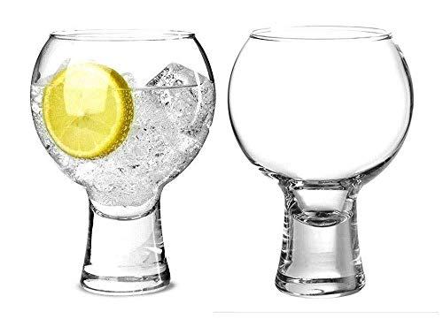 Ikonic Like Alternato Set of 2 Gin Glasses, Short Stem Glasses 19oz 540ml | Balloon Gin Spanish Copa