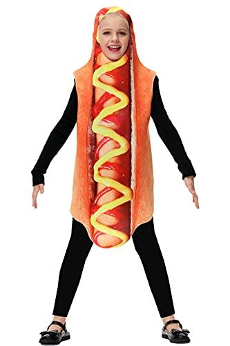 Kids Hotdog Costume Girls Halloween Funny Cosplay Party 3D Boys Hot Dog Food Costume...