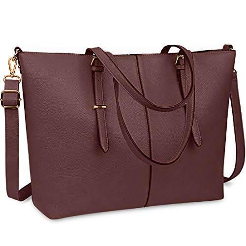 Bolsa de cuero para ordenador portátil de 15,6 pulgadas para mujer, bolsa de trabajo, Marrón (Coffee), Large