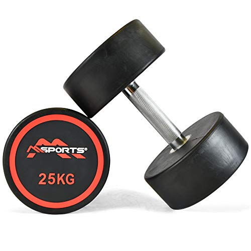 MSPORTS Rundhantel Premium 2er Set   Gummi Kurzhantel Beschichtung 2,5-50 kg   Griff verchromt und gerändelt   Verschiedene Gewichtsvarianten Hantel (2 x 25 kg)