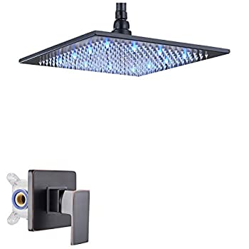 Rozin Bath One-way Shower Kit with 12-inch LED Light Rain Shower Head Ceiling Mounted Oil Rubbed Bronze