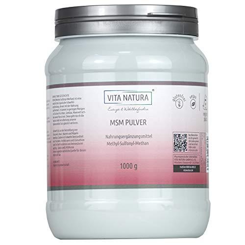 Vita Natura MSM Pulver, Methylsulfonylmethan, aus den USA, nachhaltige Verpackung, 1er Pack (1 x 1 kg)