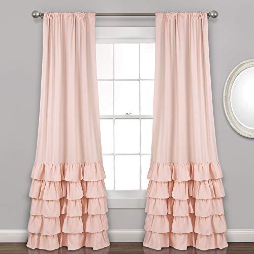 "Lush Decor Allison Ruffle Curtains Window Panel Set for Living, Dining Room, Bedroom (Pair), 84"" L, Blush"