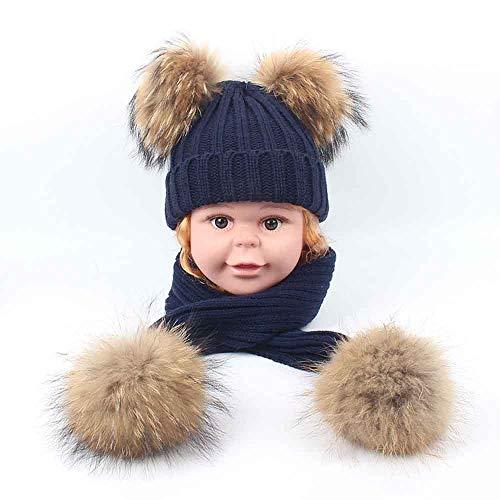 LRQHZYQ Winter Kids Hoed Set, 1-6 Jaar Oude Peuter Baby Gebreide Hoed Cap Winter Warm Wol Baby Peuter Kids Cap en Neckerchief Sjaal Set