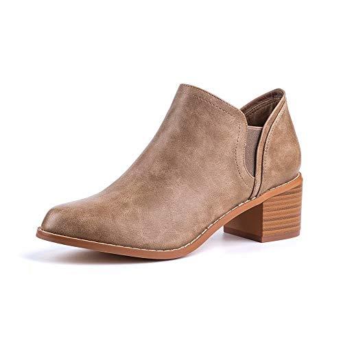 Botines Mujer Planos Otoño Botas Piel Tacón Anch 5cm Botin Medio Bloque Chelsea Ankle Boots Invierno Cuero Zapatos Fiesta Caqui 39 EU
