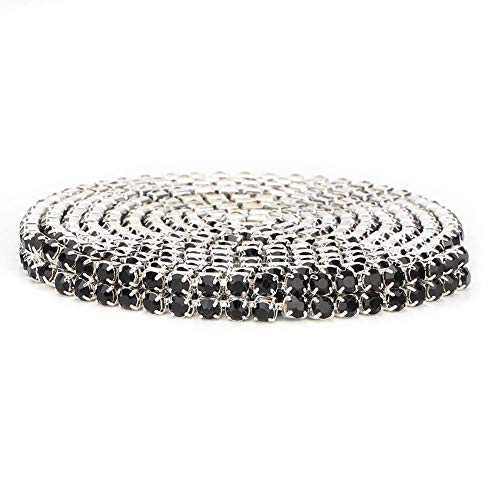 ViaGasaFamido Rhinestones Chain Trim Ribbon, Double Row Length 1m Width DIY Wrap Roll Crystal Faux Drill Trims 3mm Rhinestones Chain Trim Ribbon Decoration Crafts Accessory(Black)