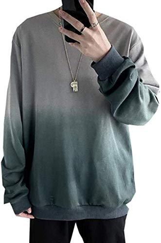[ Smaids x Smile (スマイズ スマイル) ] トップス トレーナー カットソー グラデーション 長袖 服 シンプル クラシック チェック ストリート ボーイッシュ 渋谷 ビジネス ジャージ カットソー 韓国 セット キャラクター コーデ イベント B系 ちょいわる カジュアル 通勤 柄 ポケット プリント 普段着 あったかい 素敵 ブランド かわいい メンズ (M, グレー)