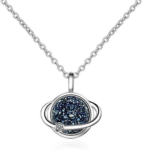 Xianglsp Co.,ltd Halskette Damen Halskette Elegante Blaue Planet Halskette Blaue Kristall Achat Zahn Anhänger Personalisierte Kurze Schlüsselbein Kette