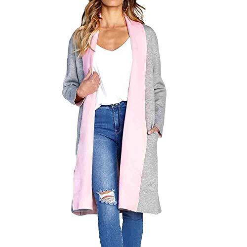 HX fashion Jesienny płaszcz wiosenny długi płaszcz gruba elegancka kurtka z wygodnymi rozmiarami kołnierz klapa modny kontrastowy kolor płaszcze kardigan płaszcz odzież wierzchnia z kieszeniami