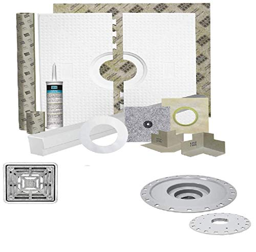 Laticrete HYDRO BAN 9243-4848-CDK Waterproofing Shower Kit 48 inch x 48 inch with 2 inch PVC Bonding Flange and 4 inch Grate (PVC FLANGE, 4