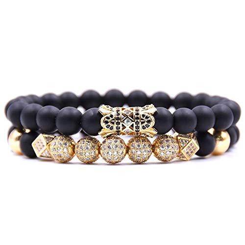WHFDRHSZ armband zwarte kraal armbanden voor mannen en vrouwen 4 kleur Pave Cz bal en buis bedelarmband sieraden