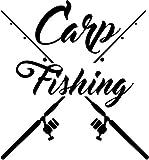 Krazz-Shirtz Heckscheibenaufkleber, Karpfenaufkleber Auto Weisß !!!, Carp Fishing mit gekreuzter...