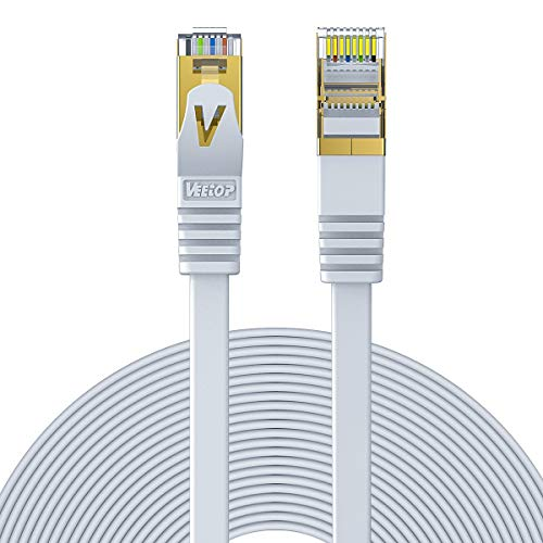 Veetop 5m - Cable de Red Ethernet,Cat7 RJ45 Ethernet Plano | Velocidad 10 Go/s, Blanco