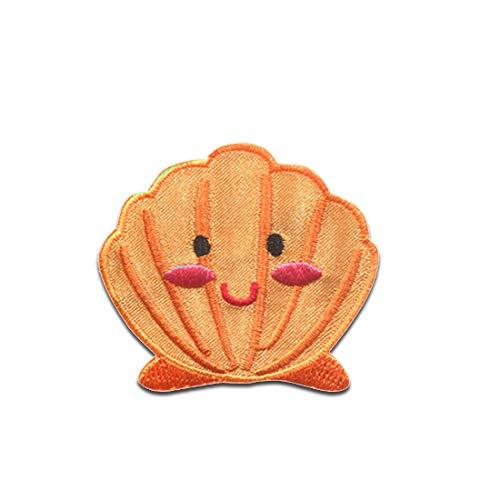 la cara de la almeja piratas Animales - Parches termoadhesivos bordados aplique para ropa, tamao: 5,1 x 4,4 cm