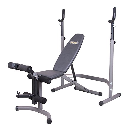 Body Champ Olympic Weight Bench with Leg Extension Curl Lift Developer Attachment / 2 piece Combo Bench and Squat Rack Stand BCB3780,Gray/Silver