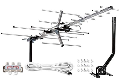 [Newest 2020] Five Star Yagi Satellite HD TV Antenna up to 200 Mile Range, Attic or Roof Mount TV Antenna, Long Range Digital OTA Antenna for 4K 1080P Supports 4 TVs Installation Kit & Mounting Pole