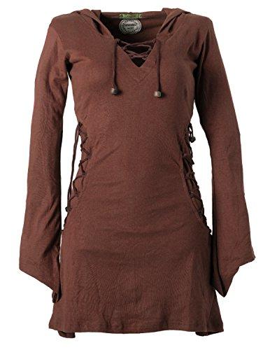 Vishes - Alternative Bekleidung - Elfenkleid mit Zipfelkapuze und Bändern zum Schnüren Dunkelbraun 44 (L)