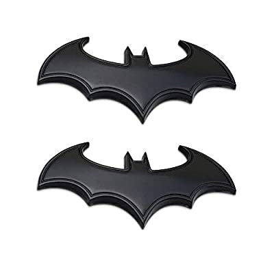 "2 Pcs in Set Bat Sticker 4"" - Big Car Emblems Batman 3D Car Badge Auto Truck Motorcycle Accessories Black PVC from YARAKETA"