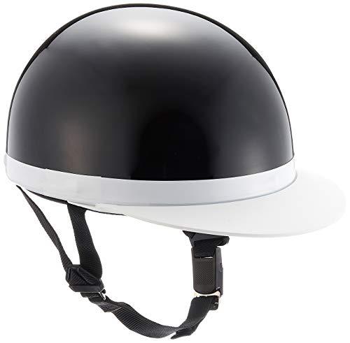 バイクパーツセンター ヘルメット ハーフ 白ツバ ブラック フリーサイズ (頭囲 57cm~59cm未満) 7101