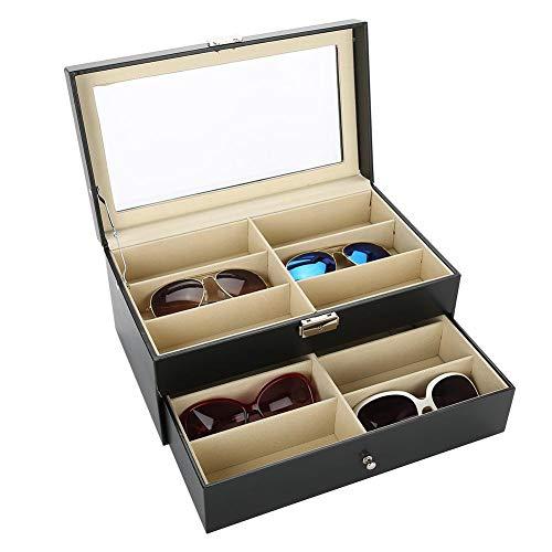Caja para 12 gafas, doble capa, de MDF y piel sintética para casa, 34 x 19 x 16 cm, color negro