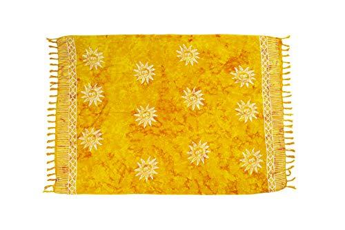 MANUMAR Damen Pareo blickdicht, Sarong Strandtuch in gelb mit Sonne Motiv, XL 175x115cm, Handtuch Sommer Kleid im Hippie Look, für Sauna Hamam Lunghi Bikini