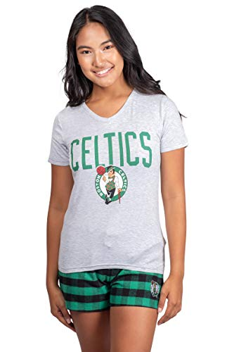 Ultra Game NBA Boston Celtics Womens Sleepwear Soft Tee Shirt & Flannel Shorts Loungewear Pajama Set, Team Color, Large