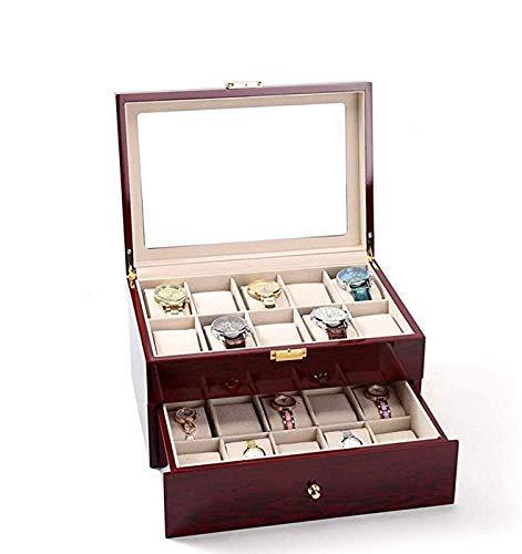 NOSSON Uhrensammelbox Schmuckschatulle Gehobene Doppelschichten Aus Holz Mit Großer Kapazität Uhr Aufbewahrungsbox Für Uhren Roter Schmuckkasten Mit Schubladen