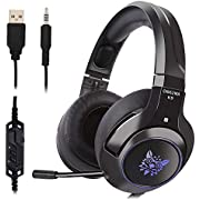Ceppekyy Gaming Headset, Gaming Headphone for PS4, Xbox One, Nintendo, Switch, with LED Lights & Noise-canceling Microphone & Control, Crystal Clear Sound, Comfortable Earmuffs