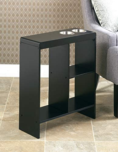Slim End Table with Drink Holders and Built in Shelving Black product image