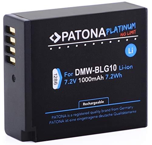 Patona Platinum (1000mAh) - Ersatz für Akku Panasonic DMW BLG10 E mit Infochip Intelligentes Akkusystem - Für Panasonic Lumix DC GX9 TZ202 TZ91 DMC TZ101 TZ81 GF6 GX7 GX80 LX100 S6 usw.