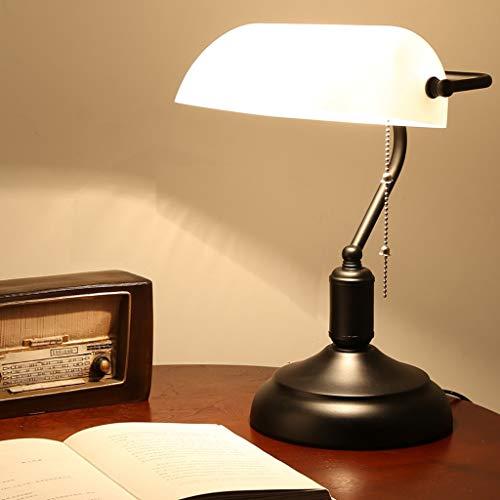 Beleuchtung, Nachttischlampe Retro Banker Lampe, Schreibtischlampe im Antikstil Lampenschirm aus weißem Glas mit Retro Metallfuß, Zugschalter mit Metallperlen, Nachttisch Antike Tischlampe Möbel Licht