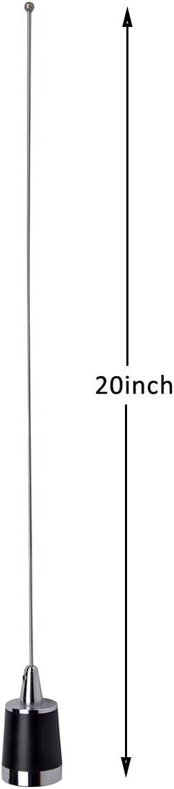 HYS Amateur Antennas Dual-Band NMO 20 Inch Antenna VHF 144/UHF 430MHz NMO L Shape Mount Mobile Antenna Bracket W/13 ft RG58 Coax Cable NMO to UHF-male/PL259 for Motorola Kenwood Midland Mobile Radios : Electronics