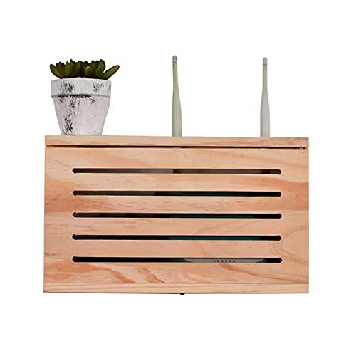 Módem WiFi enrutador estante de madera caja de almacenamiento inalámbrico de madera estante de pared de madera sólida fuente de alimentación ligera gato enchufe fila de hub de hub de terminación de la