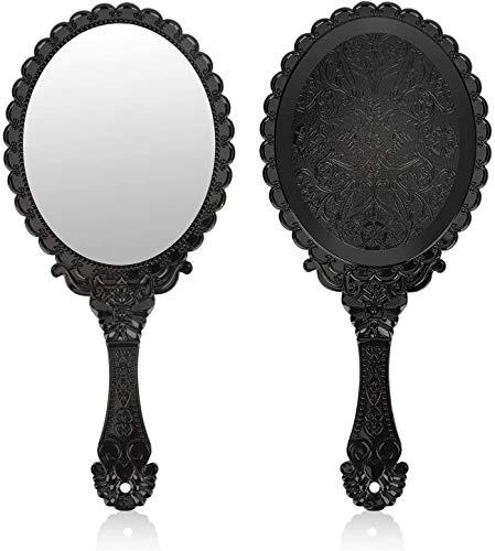 Espejo de mano vintage Tisi, pequeo espejo decorativo de mano para maquillaje facial, flores en relieve, porttil, antiguo, viaje, cosmtico personal con soplo de polvo (negro)