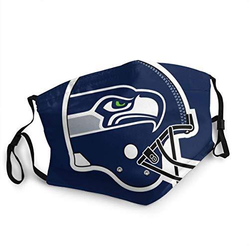Mundschutz Seattles Seahawks Unisex Gesichtsbedeckung Lustige Winddichte Mundhülle für Festivals im Freien Sport Sport Schwarz
