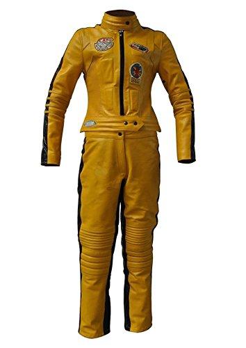 coolhides UMA Thurman Kill Bill - Disfraz de Mujer de Piel auténtica, Color Amarillo