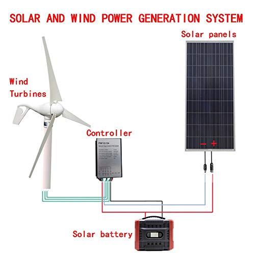 500W Windenergie Solarhybridsystem: 400W + 100W Windgenerator Solarpaneel + Windturbinenregler + Solarbatterie.