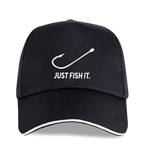 QIANWEIXI Baseball Cap Herren Angeln Just Fish It Fun Print Schwarze Baseballmützen Für Herren Fisher Fishermen Cotton Einstellbare Snapback Unisex Sonnenhüte Trucker Cap