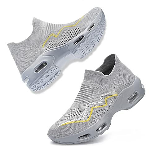 [DYKHMILY] 安全靴 レディース エアクッション 超軽量 スリッポン 作業靴 鋼先芯(JIS H級相当) 衝撃吸収 通気 あんぜん靴 耐滑 おしゃれ ダイエットシューズ 厚底 ウォーキングシューズ(25.5cm,グレー,D11829)