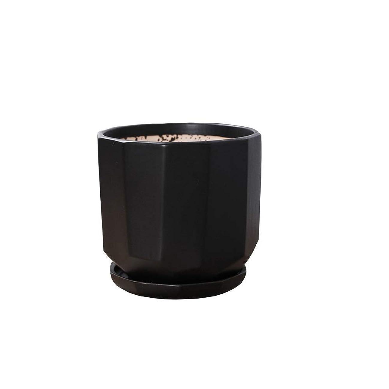 戦争単に獣YYQIANG シンプルなホワイトブラックセラミックフラワーポット、小型のセラミック工場ポットは、屋内と屋外のデスクトップ装飾フラワーポットトレイプランターオフィスデコレーション肉ボウル (Color : White, Size : L)