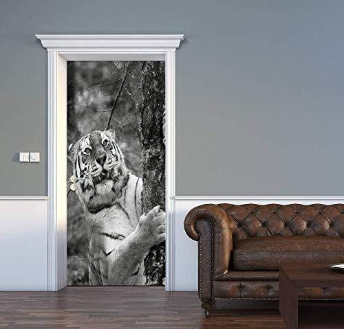 JJDSL Türtapete Türposter Türaufkleber Fototapete Türfolie - Grau Wald Tiere Tiger - 95x215 cm - für Wohnzimmer Küche Schlafzimmer Badezimmer Kinderzimmer - 3D PVC Selbstklebende Abnehmbare Türtapete