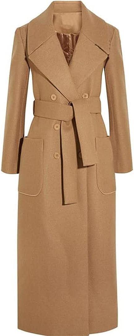 Winter Women Simple Cashmere Maxi Long Design Coat Female Woolen Outerwear Khaki M